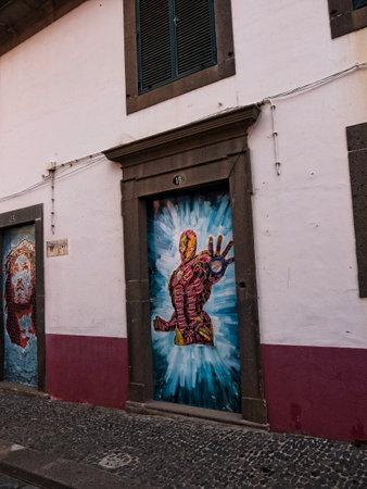 Artwork in Camara de Lobos a fishing village near the city of Funchal Madeira 에디토리얼