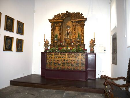 Altar in chapel by the cathedral in Funchal Madeira Portugal Editorial