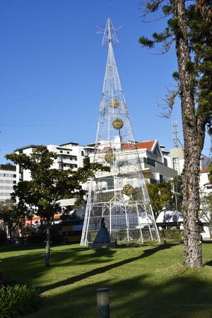 Electric Christmas Tree in Funchal Madeira Portugal Editorial