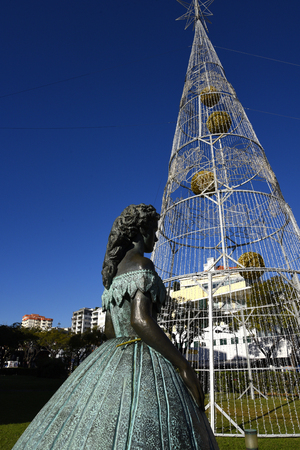 Electric Christmas Tree with statue of Empress Elizabeth of Austria known as Sissy in Funchal Madeira Portugal