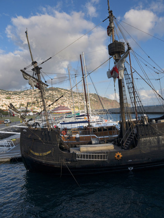 Reproduction Galleon taking tourists on a pirate cruise in the sea around Funchal on the island of Madeira Portugal