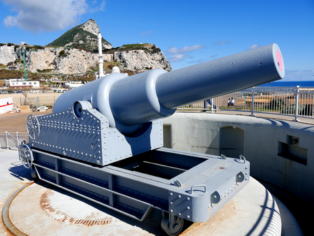 Gun and defences at Europa Point which is the most southerly point of the Rock of Gibraltar, watches over the Straits of Gibraltar Редакционное