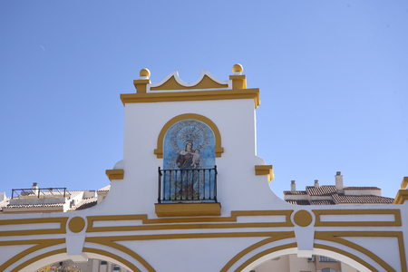 the gate of the Market at the Feria Ground in Fuengirola on the Costa del Sol Spain Editorial