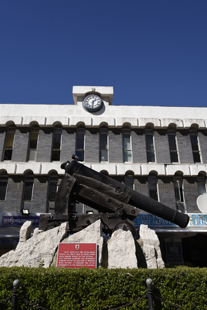 A Gun uniquely designed to fire at an angle down walls and battlements on the Rock of Gibraltar. It is called a depression gun and stands in Casemates Square Editorial