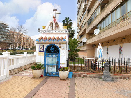 Shrine amongst the Apartment Blocks in Fuengirola on the Costa del Sol Spain Editorial