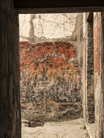 Fresco in villa in Herculaneum, or Ercolana, near Naples in Italy was not buried by falling rocks like Pompeii was in the eruption of Vesuvius in 79AD, instead it was engulfed in boiling mud and superheated air. This preserved roofs, buildings and artefac Editorial
