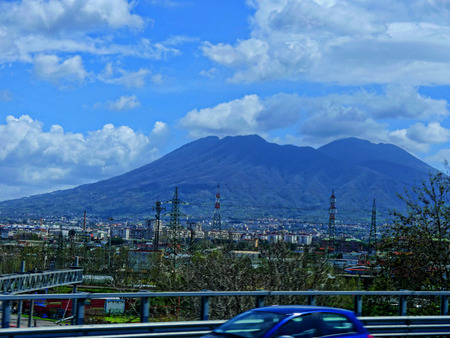 Mount Vesuvius from the Motorway between Naples and Sorrento in Italy