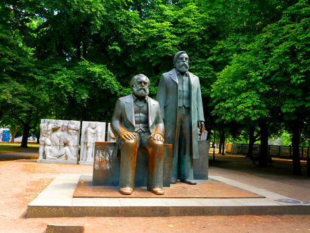 The statue to Karl Marx and Fredric Engles in Berlin in Germany .Tthey are both buried in London England