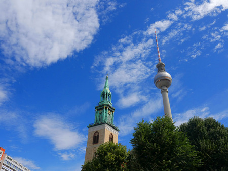 The Marienkirche and the Fernsehturm Communication tower in Berlin Germany