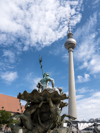 The Neptune Fountain in Alexanderplatz in Berlin Germany Editorial