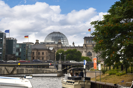 Architecture along the River Spree from one of the river cruises from the city centre in Berlin Germany