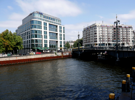 Architecture on the Banks of the River Spree that runs through Berlin Germany Editorial