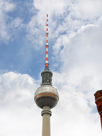 The Fernsehturm  communications tower in the Alexanderplatz area of Berlin in Germany.It is close to the Fernsehturm the Communications Tower Editorial