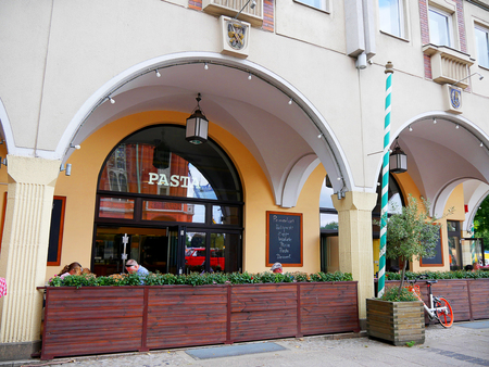 Italian restaurant facing the Town hall in the Alexanderplatz area of Berlin Germany