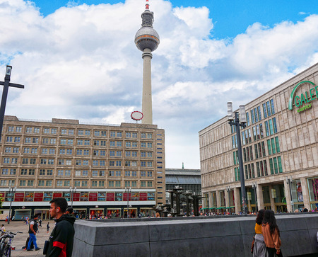 Shops in the Alexanderplatz area of Berlin in Germany.