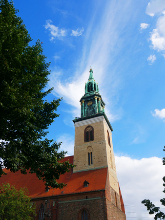 The St Marienkirche  in the Alexanderplatz area of Berlin in Germany.It is close to the Fernsehturm the Communications Tower and the Neptune Fountain Editorial