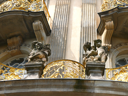 architectural detail on building in the Nikolaikirche district of Berlin Germany