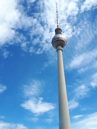 Berlin Germany the television tower or Fernsehturm. It is possible to go up to the viewing platform for vistas over the city