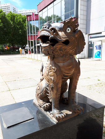 Oriental Lion outside a restaurant in the residential Area of Alexanderplatz in Berlin Germany