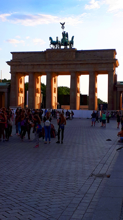Brandenburg Gate is Berlins most famous landmark. A symbol of Berlin and German division during the Cold War, it is now a national symbol of peace and unity Editorial