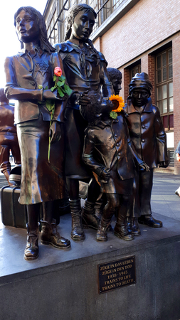 Statue to the victims of the Holocaust at the Friedrichstrasse Railway Station in Berlin germany Editorial