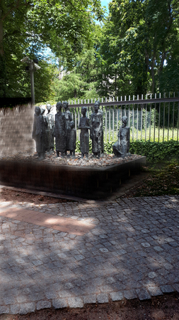 Called the Jewish Victims of Fascism, this memorial statue stands outside the gates of the old Jewish cemetery is in the HackescherMarkt area, a square in the central Mitte locality of Berlin, Germany.