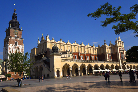 The Town Hall Tower and the Cloth Hall in the Market Square in Krakow, Krakow, the unofficial cultural capital of Poland, was named the official European Capital of Culture for the year 2000 It is a major attraction for both local and international touris