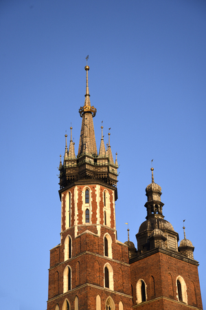 The Church of St Mary or the Mariacki Church in the Market square in krakow Poland