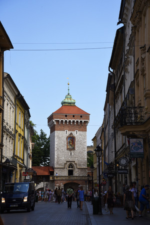 The Florian Gate into the Walled City of Krakow in Poland