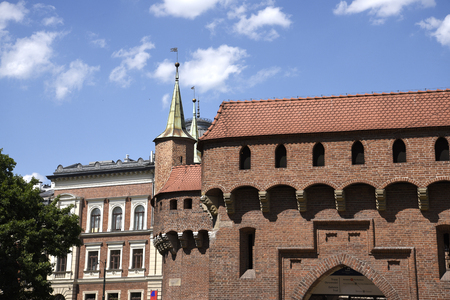 The Barbican Building outside the Florian Gate in Krakow Poland Editorial