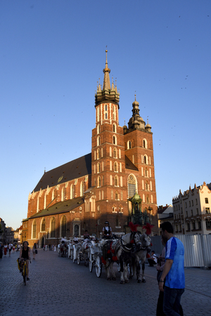 St Marys or the Mariacki Church on the Market Square  in Krakow Poland