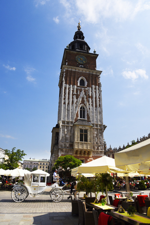 The Town Hall Tower in the Market Square in Krakow Poland