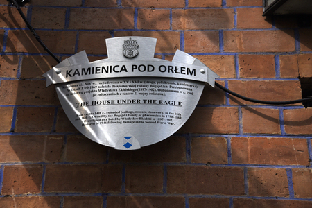 memorial sign on property in the Market Square in Krakow Poland