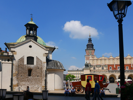 Little Chapel and the Cloth Hall in the Market Square in  Krakow Poland