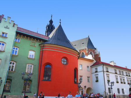 Architecture in the city of Krakow in Poland. This square is just behind the Mariacki church
