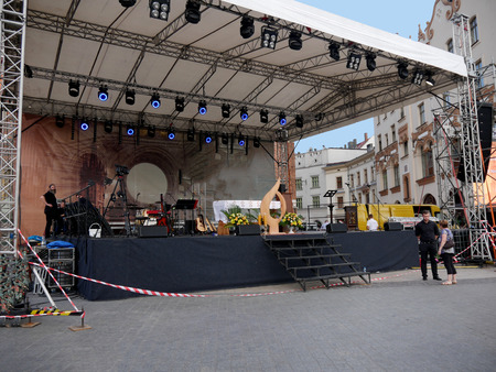 Krakow, Poland, May 2018 Stage set up outside the Church of Mariacki or St Marys Church in Krakow Poland for the Corpus Christ singers and participants