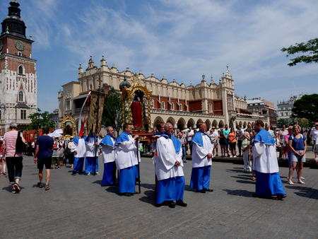 The Corpus Christi processions in Krakow Poland are every year in May.  Poland is a Catholic Country and people are very religious
