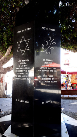 Memorial to the Jewish Victims of the Nazi Holocaust on the island of Rhodes. More than 1,550 of the remaining 1,700 Jews were deported and met their deaths in concentration camps