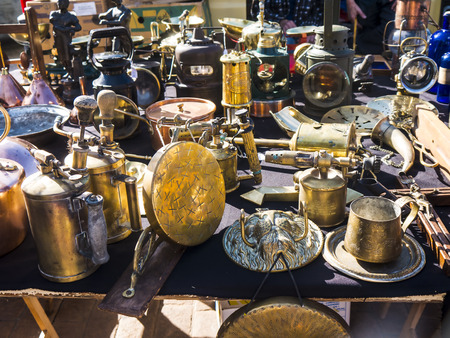 Flea market items on the Market at the Feria Ground in Fuengirola on the Costa del Sol Spain