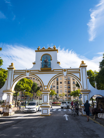 Gates at entrance to the Market and Feria Ground in Fuengirola on the Costa del Sol Spain
