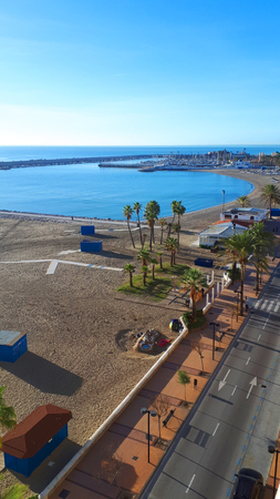 the Beach and Coast road through Fuengirola Spain Stock Photo - 118750932
