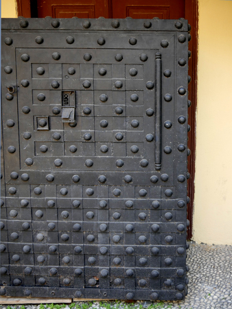 Strongroom or safe in restaurant of Cafe in the Old Walled city of Rhodes in Greece