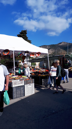 The weekly Market in Nerja on the Costa del Sol in Spain Editorial