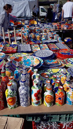 Colourful Pottery on the weekly market in Nerja on the Costadel Sol Spain