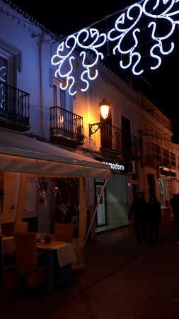 Christmas lights in the Village of Nerja on the Costa del Sol in Andalucia Editorial