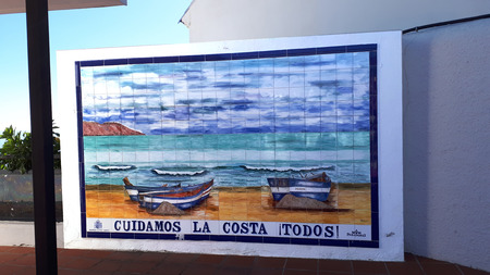 Tiled picture of the Burriana beach in Nerja Spain