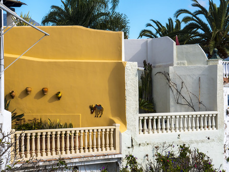 Colourful terrace with balustrade overlooking the sea in nerja Spain Stock Photo