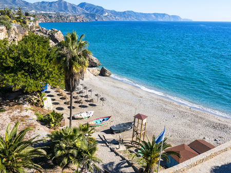 The Carabeo beach in Nerja Andalucia Spain seen from the Balcon de Europa a viewpoint in the town Stock Photo