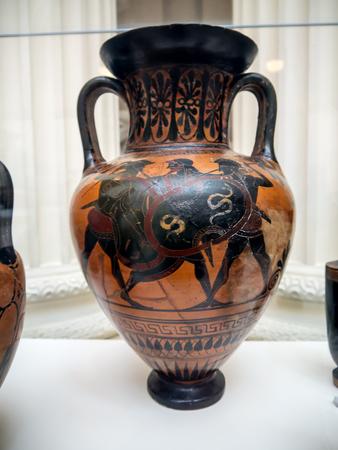 Greek vase  on display in English museum