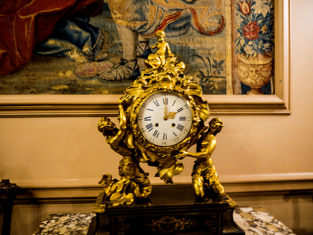 french clock on display in English museum